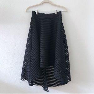 Black stripe mesh midi high low full skirt
